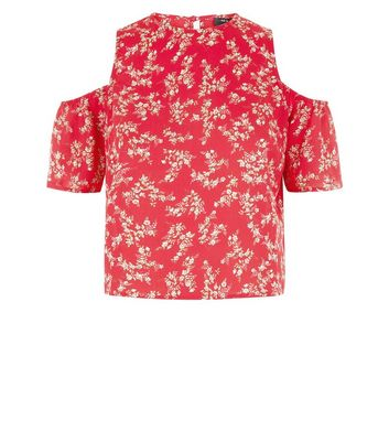 Teens Red Floral Cold Shoulder Top New Look