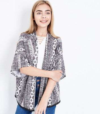 Teens Black Aztec Print Kimono New Look