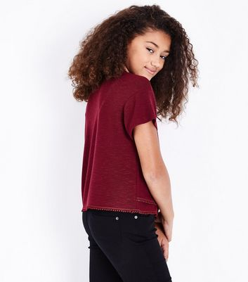 Teens Burgundy Pom Pom Trim T-shirt New Look