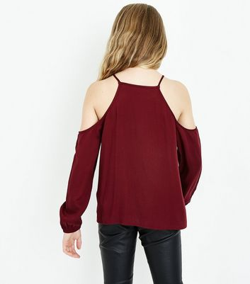 Teens Burgundy Cross Stitch Front Cold Shoulder Top New Look