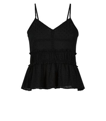 Teens Black Spot Shirred Cami Top New Look