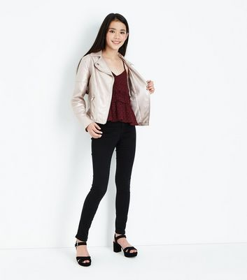 Teens Burgundy Spot Shirred Cami Top New Look