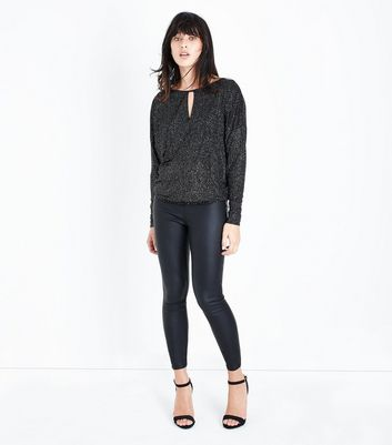 Navy Glitter Spot Batwing Sleeve Top New Look