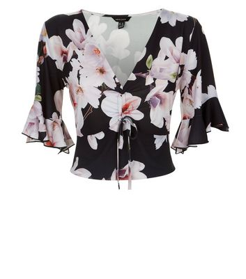 Black Floral Print Ruched Front Crop Top New Look