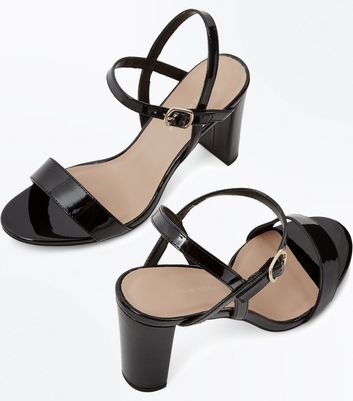 Wide Fit Black Patent Block Heel Sandals New Look