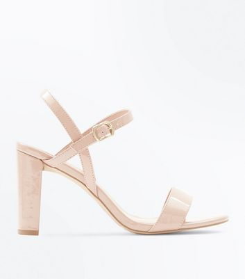 Wide Fit Nude Patent Block Heel Sandals