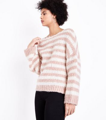 Cream Stripe Fluffy Jumper New Look