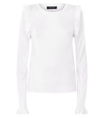 Off White Frill Trim Jumper New Look