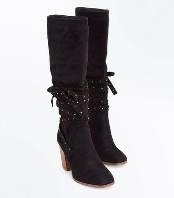 Black Suedette Stud Tie Knee High Boots New Look