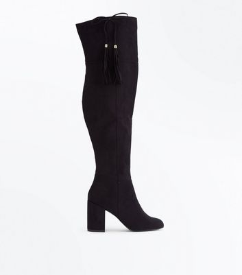 Black Suedette Bow Tassel Side Over the Knee Boots New Look