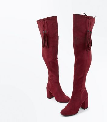 Burgundy Suedette Bow Tassel Side Over the Knee Boots New Look
