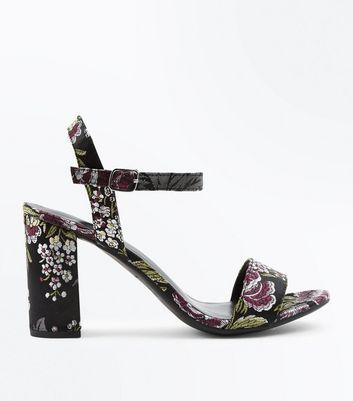 Black Satin Floral Brocade Block Heel Sandals New Look