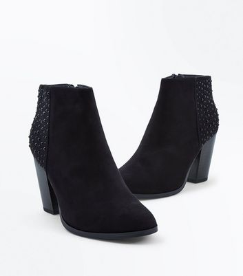 Wide Fit Black Gem Embellished Heeled Boots New Look