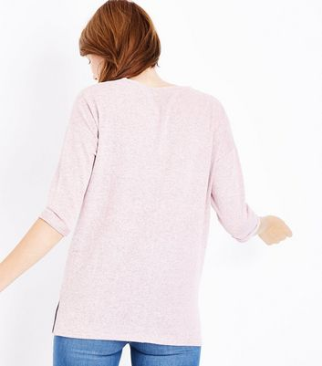 Maternity Pink Brushed Knit V Neck Jumper New Look