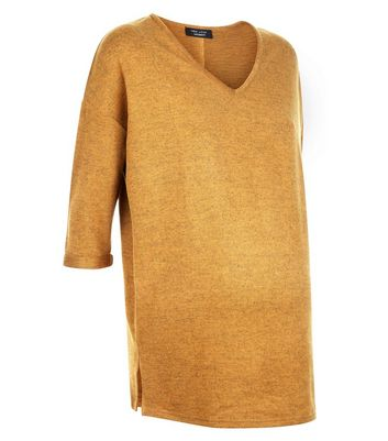 Maternity Mustard Yellow Brushed Knit V Neck Jumper New Look