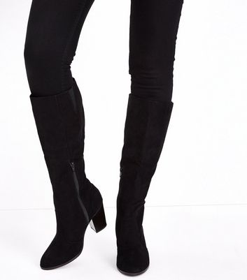 Wide Fit Black Suedette Knee High Western Boots New Look