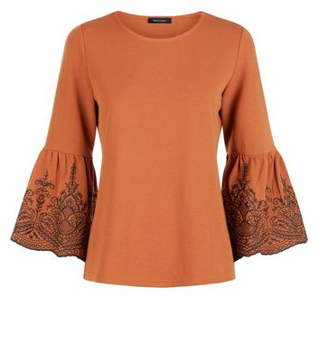 Rust Embroidered Bell Sleeve Top New Look