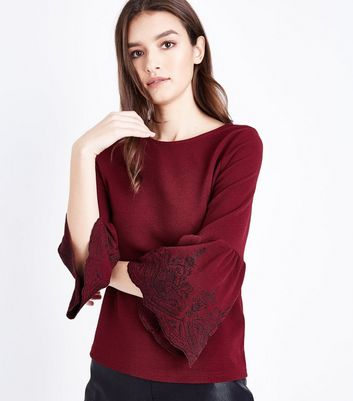 Burgundy Embroidered Bell Sleeve Top New Look