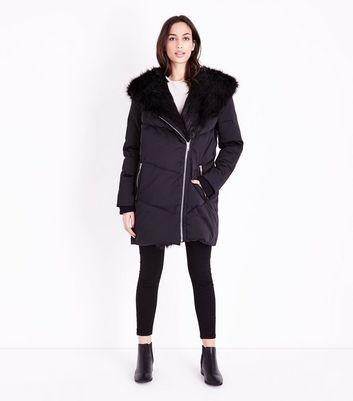 Black Faux Fur Trim Asymmetric Puffer Jacket New Look