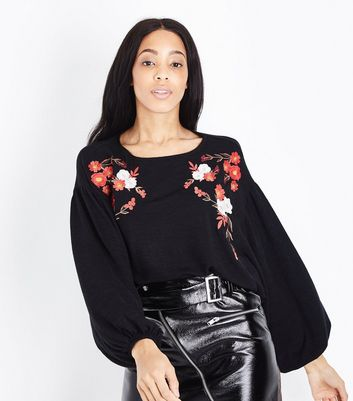 Black Floral Embroidered Batwing Sleeve Jumper New Look