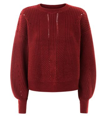 Red Pointelle Lace Up Back Jumper New Look