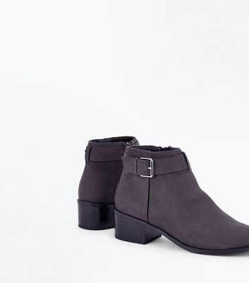 Grey Comfort Suedette Buckle Side Boots New Look
