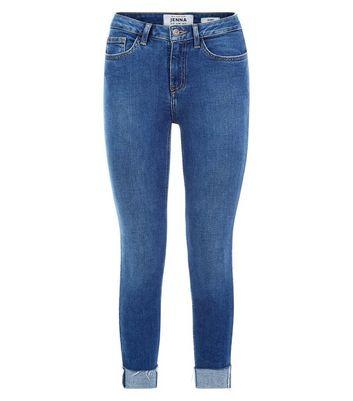 Petite Blue Turn Up Hem Skinny Jeans New Look