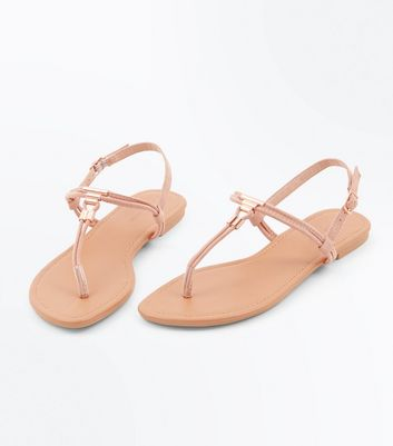 Pink Suedette Metal Trim Toe Post Sandals New Look