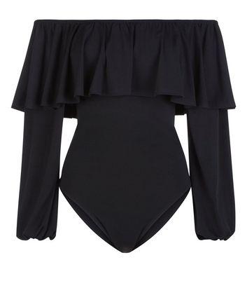 Black Frill Bardot Neck Long Sleeve Bodysuit New Look