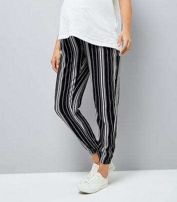 Maternity Black Stripe Elasticated Hem Joggers New Look