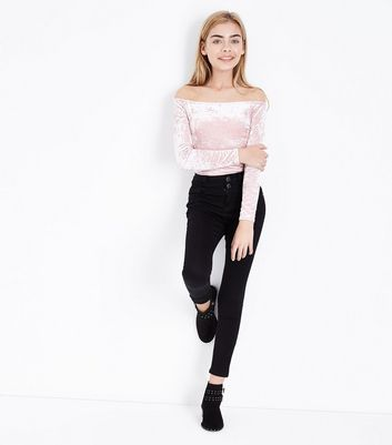 Teens Shell Pink Velvet Bardot Neck Top New Look