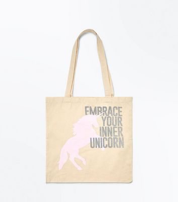 Pink 'Embrace Your Inner Unicorn' Canvas Bag New Look