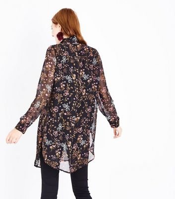 Maternity Black Floral Longline Shirt New Look