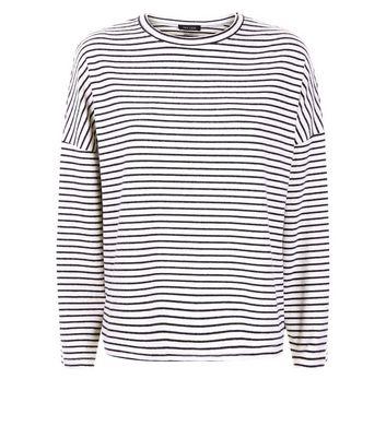 Cream Stripe Brushed Crew Neck Drop Sleeve T-Shirt New Look