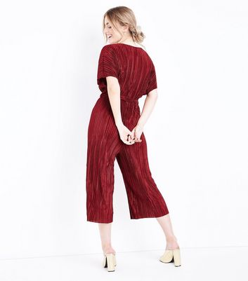 Petite Burgundy Plisse Wrap Front Culotte Jumpsuit New Look