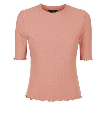 Rust Ribbed Half Sleeve T-Shirt New Look