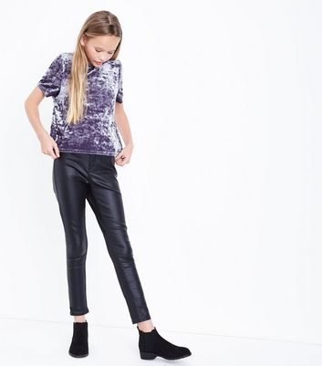 Teens Dark Grey Velvet T-shirt New Look