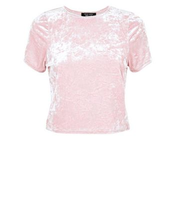 Teens Shell Pink Velvet Box T-Shirt New Look