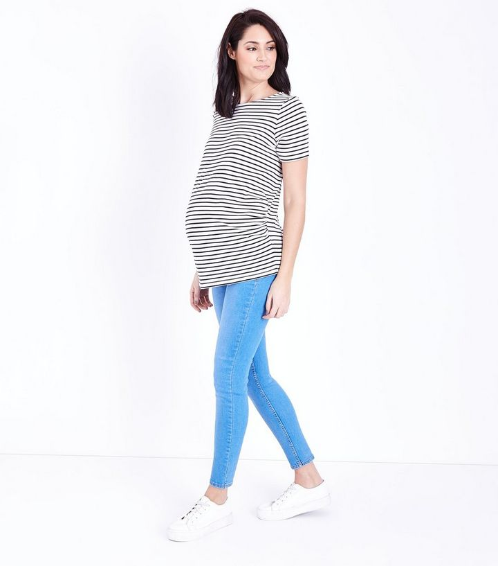 24c5c2ef8e2ac Maternity Bright Blue Under Bump Jeggings | New Look