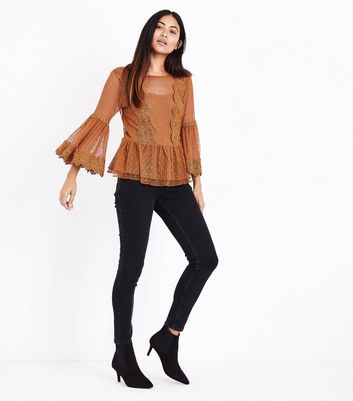 Petite Rust Bell Sleeve Double Peplum Lace Top New Look