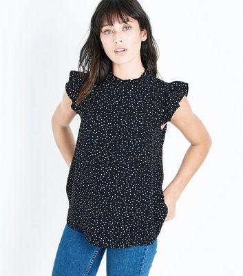 Black Spot Print Frill Sleeve Top New Look