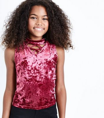 Teens Burgundy Crushed Velvet Lattice Neck Top New Look