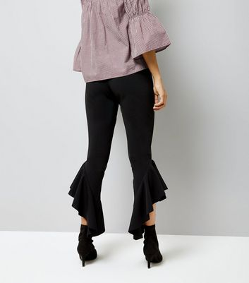 Petite Black Frill Trim Trousers New Look