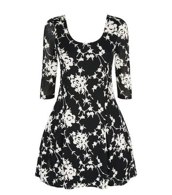 Apricot Black Textured Floral Blossom Print Skater Dress New Look