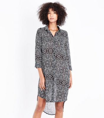 Apricot Black Filigree Print Shirt Dress New Look