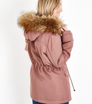 Petite Pink Faux Fur Trim Hooded Parka New Look