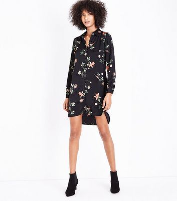 Apricot Black Tropical Floral Print Shirt Dress New Look