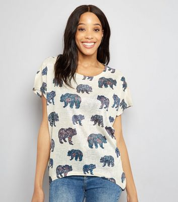 Apricot Stone Floral Bear Print T-Shirt New Look