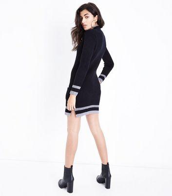 Mela Black Pocket Front Bodycon Jumper Dress New Look