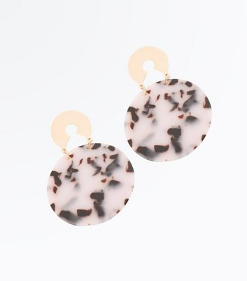 Tortoise Shell Contrast Disc Drop Earrings New Look